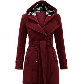 Women Fashion Winter Woolen Hooded Blend Coat With Belt Long Sleeve Jacket 1