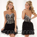 Pretty Black Short Feather Cocktail Dresses 2015 Lace Imported Party Dress Crystals Vestidos Plumas