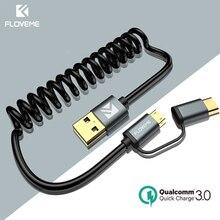 FLOVEME Cable Micro USB de carga rápida para móvil, cargador tipo C de carga rápida para Samsung S8, S9, S7 Edge, Xiaomi 4X, retráctil, 2 en 1