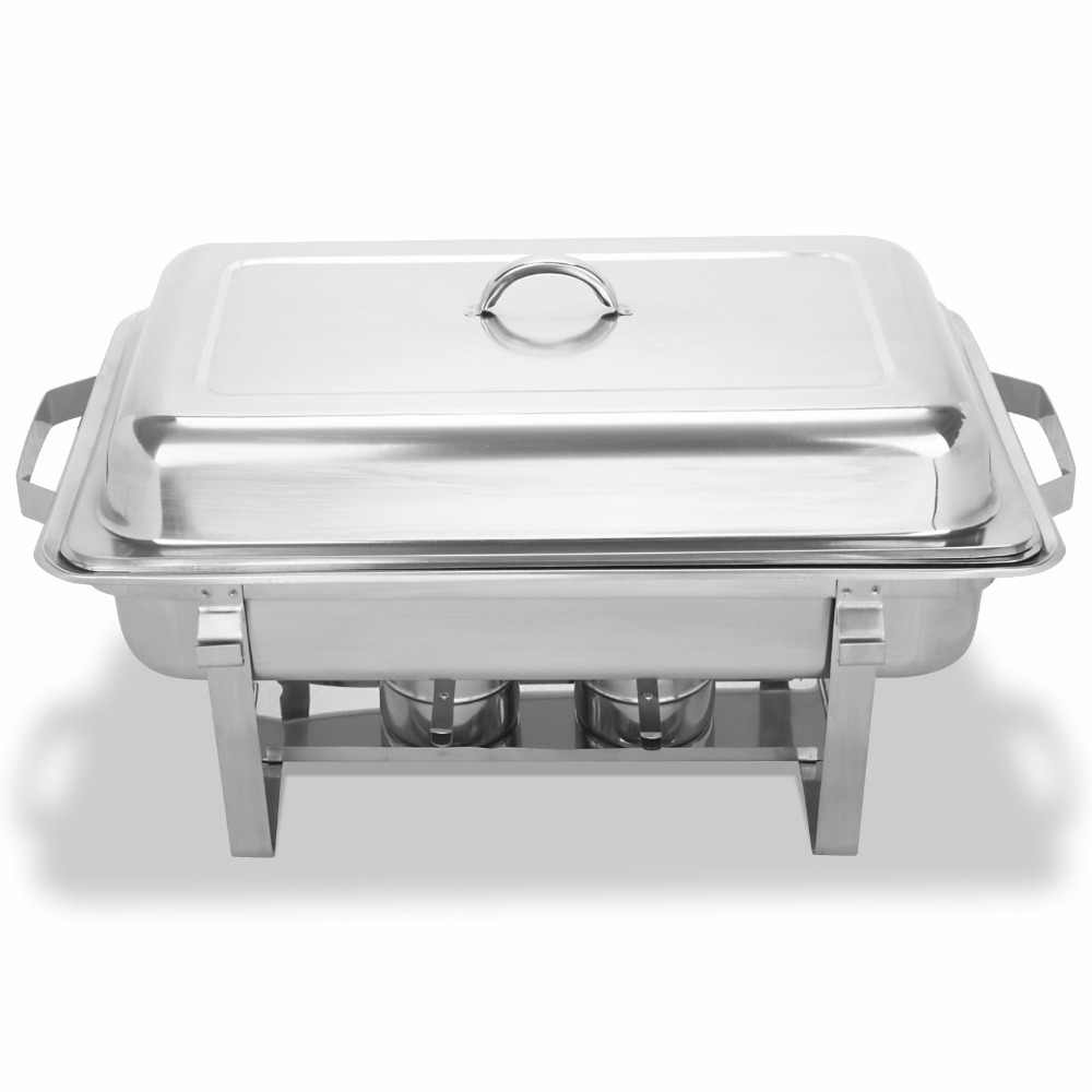 Chafing Dish Set Of 4 Stainless Steel Chafer Full Size 8 Quart Dishes For Catering