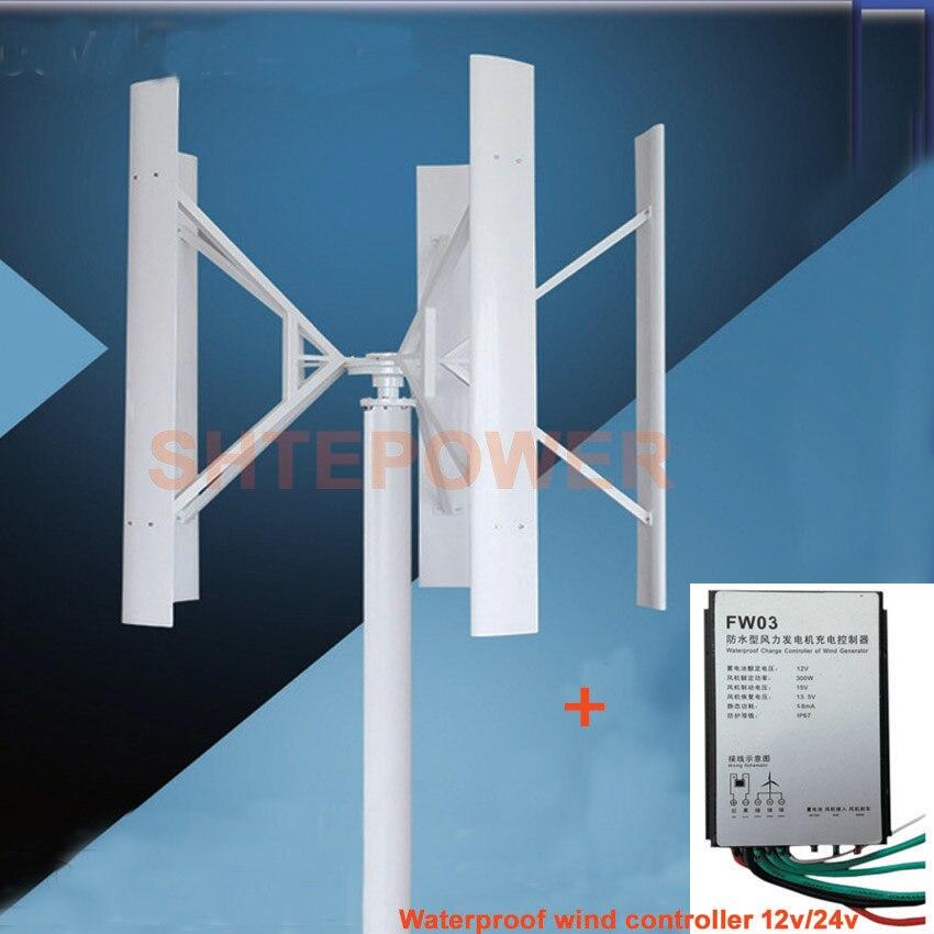Générateur de moulin à vent 300 W 12 V avec contrôleur de vent de travail 12 V générateur d'éolienne 5 lames de couleur blanche