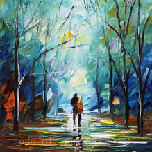 Top Skill Hand Painted Landscape Knife Oil Painting on Canvas Wall Art Decor Handmade Streetscape the Couple Walk in the Path