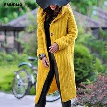 Plus Size Cardigan Long Hooded Cardigans Sweater Women Winter 2019 Autumn Feminine Coat Knitted Sweaters Streetwear Jumper 3XL цена