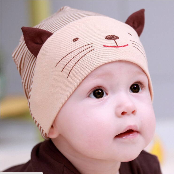 Fashion new lovely cute baby boy girl beanie striped cotton cap cat baby hat newborn accessories for 1 3year old children in skullies s
