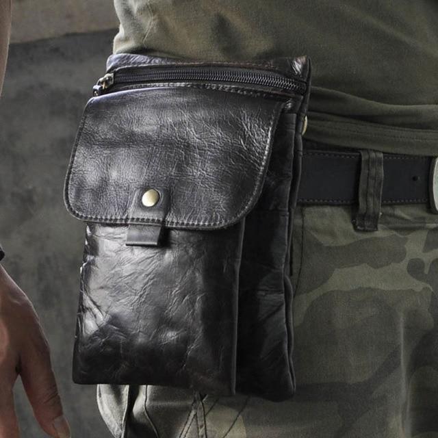 Men Genuine Leather Cowhide Messenger Shoulder Cross Body Bag Cell/Mobile Phone Case Pocket Purse  Hip Belt Fanny Waist Pack