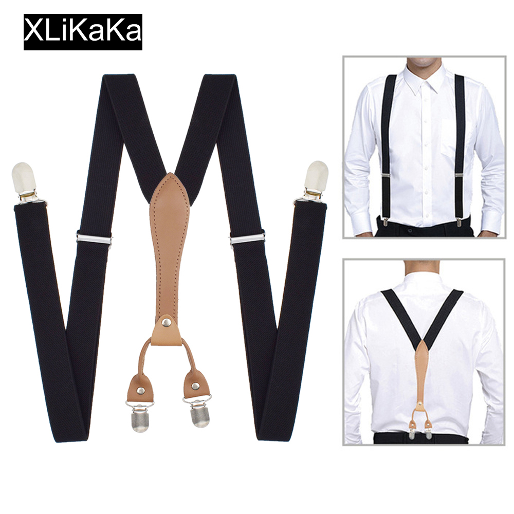 Men Black Suspenders Belt With Leather Polyester Elastic Clip-on Braces(China)