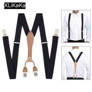 Men Black Suspenders Belt with Leather Polyester Elastic Clip-on Braces