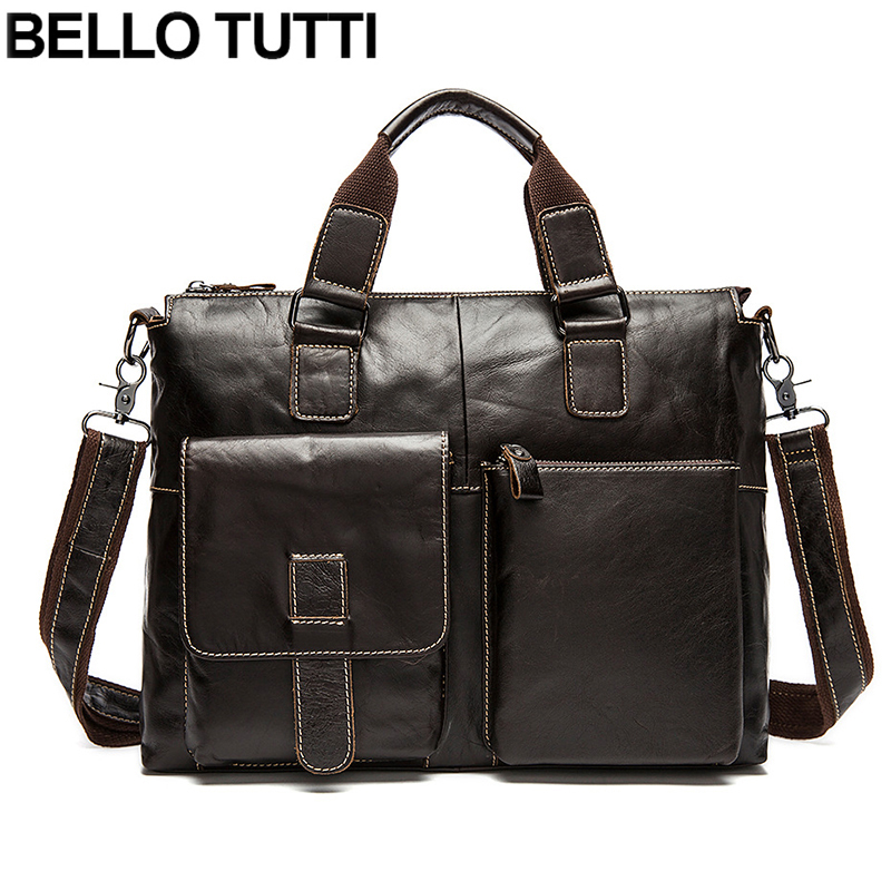 BELLO TUTTI Fashion Genuine Leather Men Bag Cowhide men's Briefcase Men's Messenger Bags Tote Shoulder Crossbody Bags Handbags genuine leather fashion women handbags bucket tote crossbody bags embossing flowers cowhide lady messenger shoulder bags