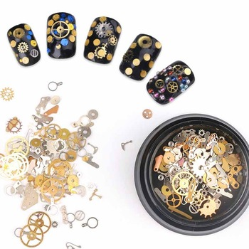 Gold Nail Time Gear Decorations Ultra-thin Punk Machinery Style Studs 3D Nail Art Tools Nail Polish DIY Wheel Tablets Stickers