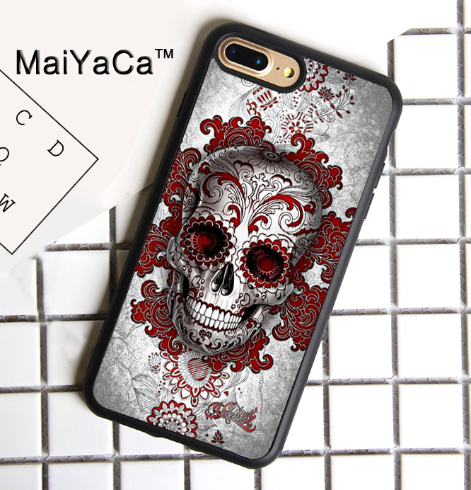 new product bb1bf addc9 US $4.34 5% OFF|MaiYaCa Day of the Dead Sugar Skull Tattooed Soft Rubber  Cover For iPhone 8 Plus Case For Apple iPhone 8plus Phone Cases Shell-in ...