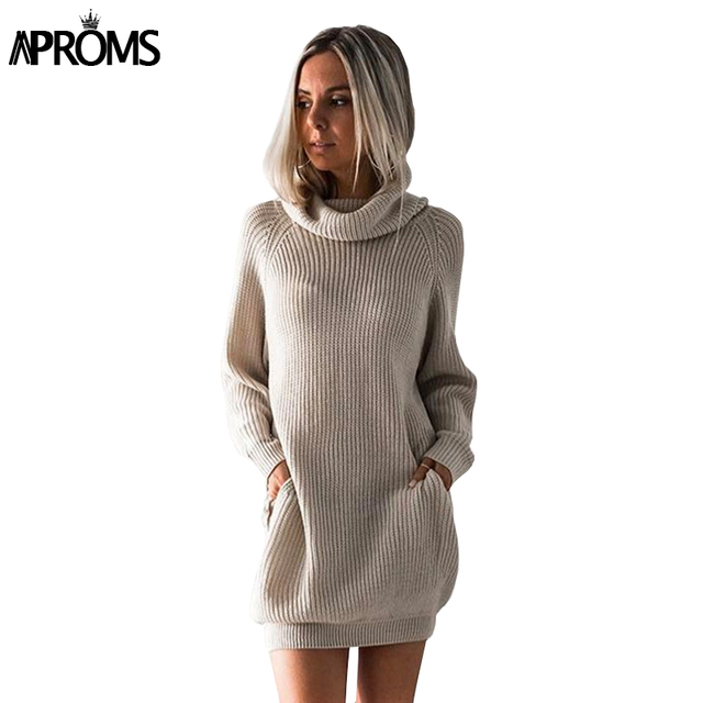 9d58610f14 Aproms Autumn Warm High Neck Knit Pullovers Women Long Sleeve Pocket  Sweater Dress Winter Knitted Top Streetwear Knitwear Jumper