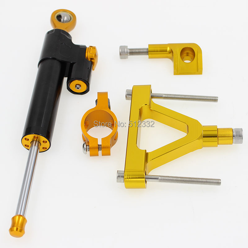 ФОТО CNC Adjustable Steering Damper Motorcycle Stabilizer Reversed & Bracket Kit Mount Safety Control For KAWASAKI ZX6R 2008 Gold