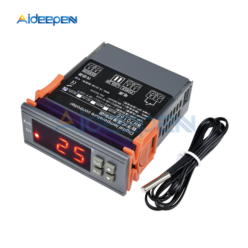 WH7016C DC 12V 24V AC 220V 10A LCD Digital Temperature Controller Regulator Thermostat Switch Thermometer with Sensor Probe