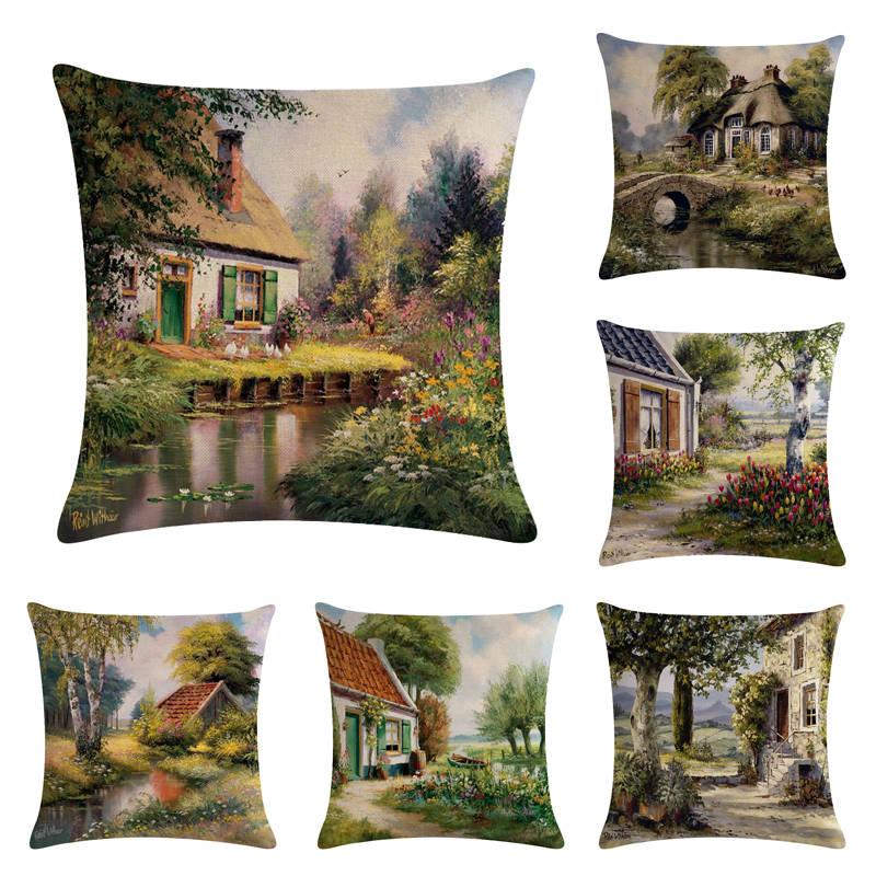Country Scenery--4 HomerDecor Cushion Cover Throw Pillowcase Pillow  Covers 45 * 45cm Sofa Seat Cushion Decorative