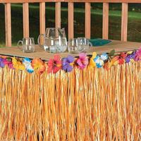 Hawaiian Flower Colorful Grass Table Skirt Outdoor Patio Garden Beach Party Camping Events Decoration Party Favor