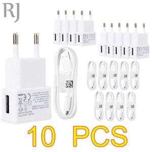 Image 1 - 10 개/몫 5V 2A EU 플러그 벽 여행 USB 충전기 어댑터 + 마이크로 USB 케이블 삼성 갤럭시 S5 S4 S6 참고 3 2 Xiaomi