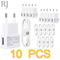 10PCS/lot 5V 2A EU Plug Wall Travel USB Charger Adapter + Micro USB Cable  For Samsung galaxy S5 S4 S6 note 3 2 For Xiaomi