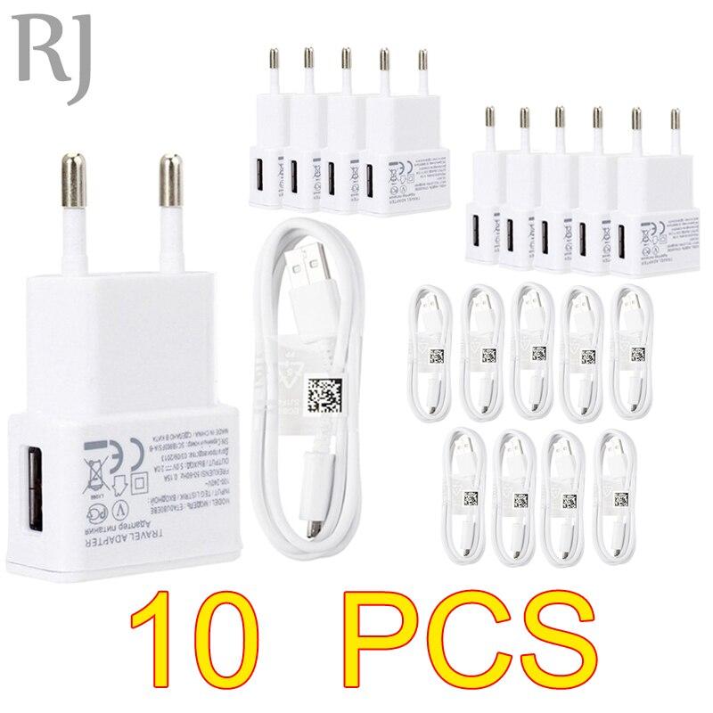 Lote de 10 unidades de adaptador de cargador USB de viaje con enchufe europeo de 5V y 2A + Cable Micro USB para Samsung galaxy S5, S4, S6, note 3 y 2, para Xiaomi