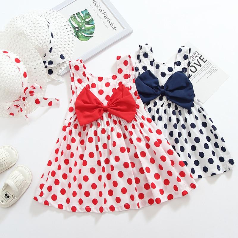 Summer Girls Dress + Hat Polka Dot Bowknot Children Dress Fashion Kids Dresses for Girls