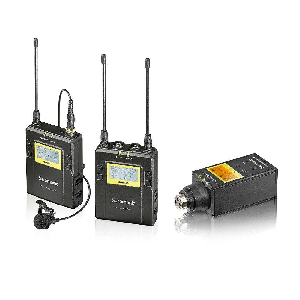 Saramonic UWMIC9 UHF Lavalier Senza Fili + XLR Trasmettitore del Microfono di Sistema con Trasmettitore da tasca + Lav Microfono, XLR unità Plug-in