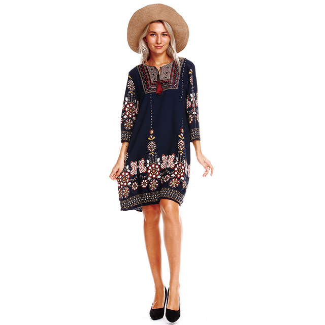 Anself Women Boho Tunic Dress Ethnic Embroidered Front Vintage Floral Print Summer Dress