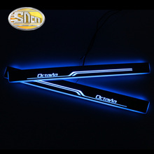 цена на SNCN 4PCS Acrylic Moving LED Welcome Pedal Car Scuff Plate Pedal Door Sill Pathway Light For Skoda Octavia A5 A7