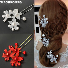 XIAOJINGLING Trendy Bridal Clear Red Crystal Pearl Floral Hair Combs Hairpin Wedding Hair Accessories Handmade Veil Hair Jewelry(China)