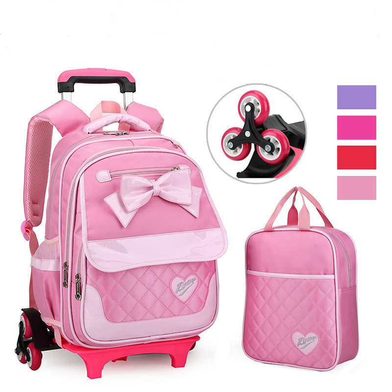 2017 children Trolley School Backpack Wheels Travel Bag Schoolbag kids trolley School Bags For Girls Detachable