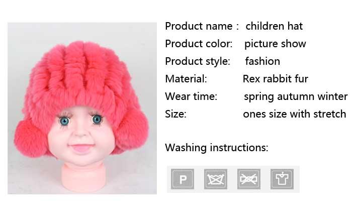 Linhaoshengyue real fur rex rabbit fur Children hat winter warm freeshipping fashion warm 9