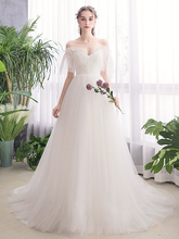 Beauty-Emily White Lace Wedding Dresses 2019 New Party Bridal Dress Long Gowns Custom made