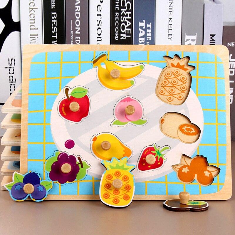30 CM Holz Spielzeug Puzzle Pädagogisches Baby Kinder Ausbildung Spielzeug Für Kind Obst Gemüse Kuchen Puzzles Spielzeug Jigsaw - 5