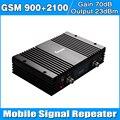 Dual Band 900 mHz 2100 mHz 3G WCDMA UMTS 2100 MHZ GSM Repetidor Ganho 70dB CELL PHONE Signal Booster amplificador Cobrir 500-2000 Quadrado