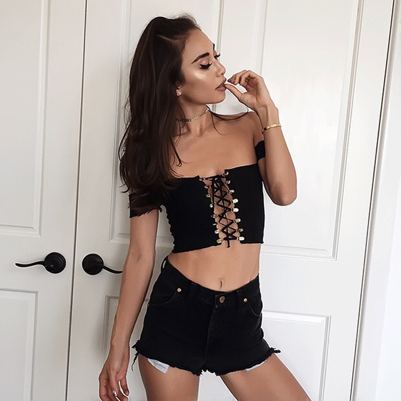 Summer sexy lace up knitted tops ashore shop