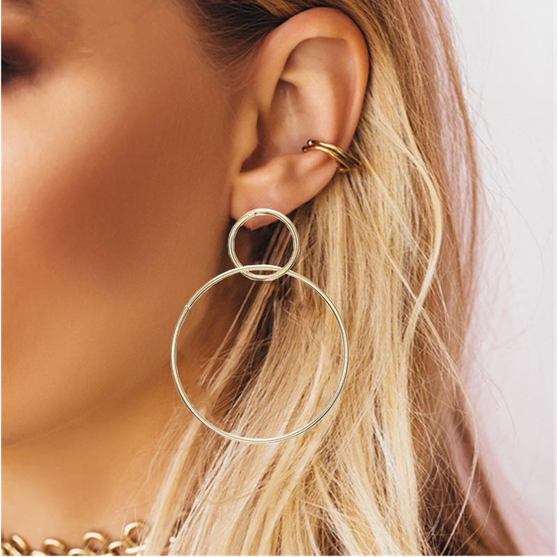 Простые модные геометрические большие круглые серьги золотого цвета с серебряным покрытием для женщин, модные большие полые висячие серьги, ювелирные изделия - Окраска металла: ez39jin