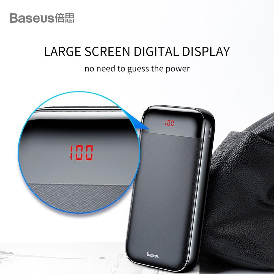 Baseus 20000mAh Power Bank 000 mAh LCD USB C PD Fast Charging Powerbank Portable External Battery Charger For Xiaomi Poverbank 7
