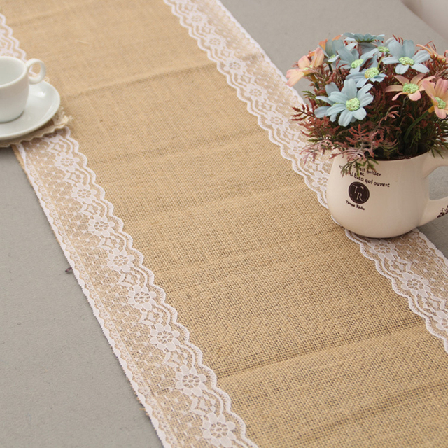 Wedding Table Runner Burlap Lace Runner Jute Table Runner Wedding ...