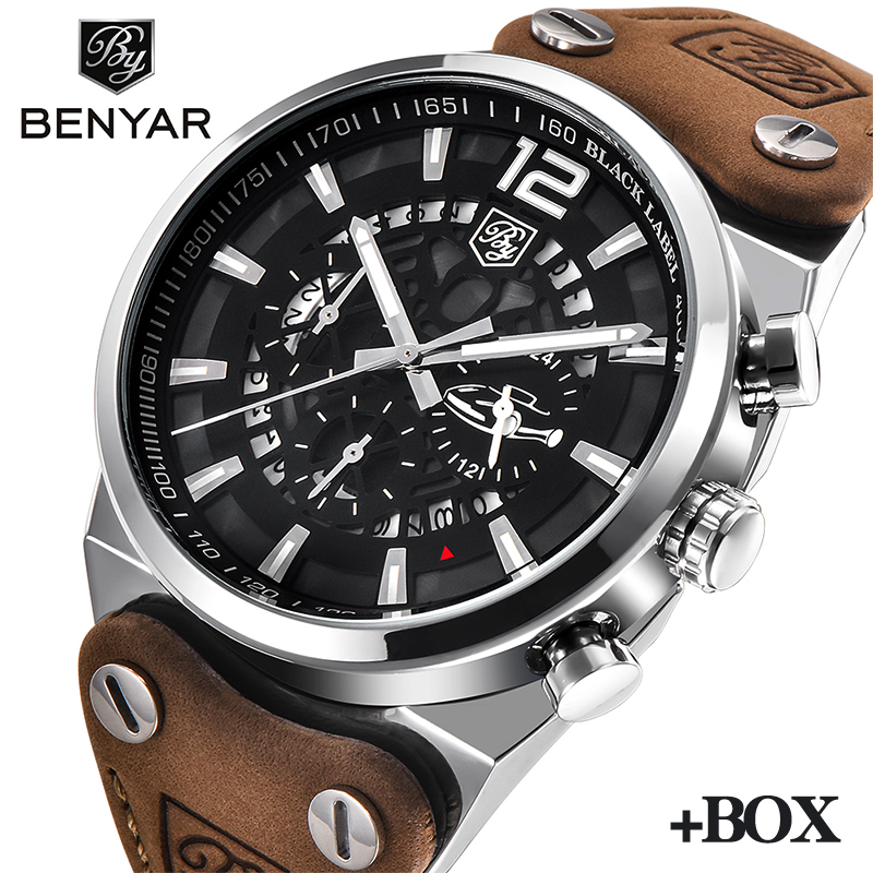 BENYAR Fashion Design Top Military Watch Waterproof Men Wristwatch Chronograph Sports Quartz Watches Men Clock Relogio Masculino