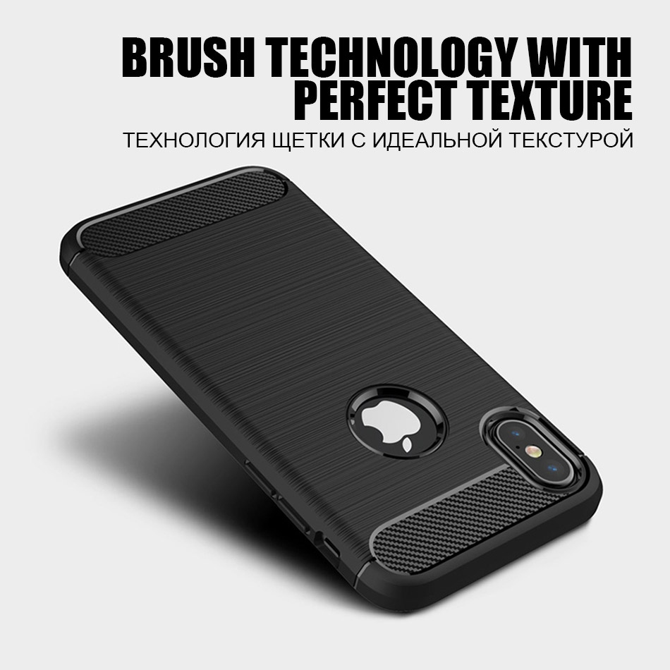 TOMKAS Phone Case Carbon Fiber Cover For iPhone XS Plus X 2018 5.8 6.1 6.5 Inch Soft TPU Silicon Case Protective Back Cover 2018 (2)