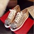 Marcas de mini de cuero genuino zapatos ocasionales femeninos paillette del metal del rhinestone pisos lacing mujer aumento de la altura mujeres pisos