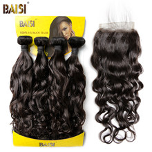 BAISI 100% Unprocessed 8A Brazilian Virgin Hair Water Wave,4 Bundles with Closure, Human Hair Bundle Natural Color Free Shipping(China)