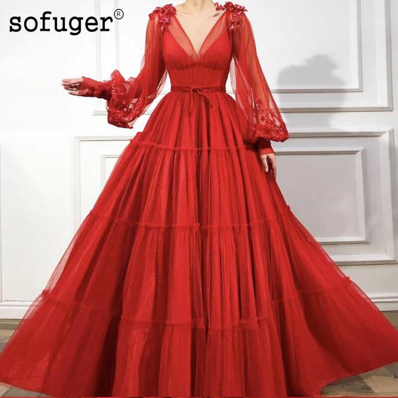Red Long Puffy Sleeve V Neck A Line Pleat   Evening     Dress   Belt Robe De Soiree Vestidos De Fiesta De Noche Formal Party   Dress