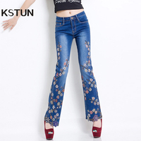 Women Jeans with Embroidery Beads High Waist Slim Denim Pants Bell Buttom Stretch Jeans Rhinestones Embroidered gloria Plus Size