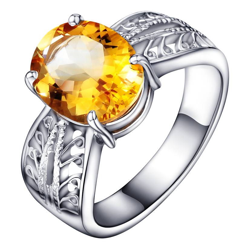 Natural Citrine Ring 925 Sterling Silver Yellow Crystal Woman Fashion Fine Elegant Jewelry Queen Lux Birthstone Gift sr0185c все цены