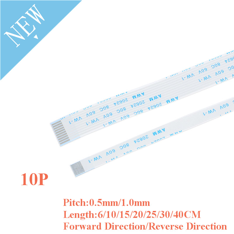 5PCS FPC/FFC Ribbon Flexible Flat Cable 10 Pin 0.5MM/1.0MM Pitch With 6/10/15/20/25/30/40CM Length Forward Reverse Direction
