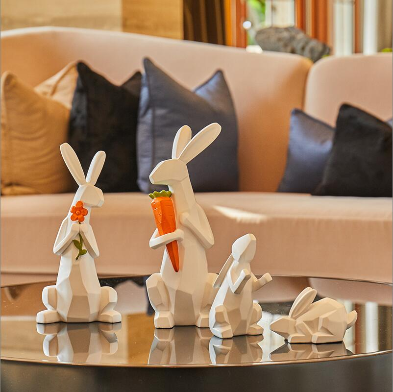 Cute family of 4 Modern minimalist animal ornaments Cute children room soft decorations Living room home TV cabinet display - 2