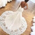 Sexy Sereia Vestidos de Casamento Do Laço Backless Champagne País Ocidental Vestidos de Noiva Robe de mariage 2016 China Z852