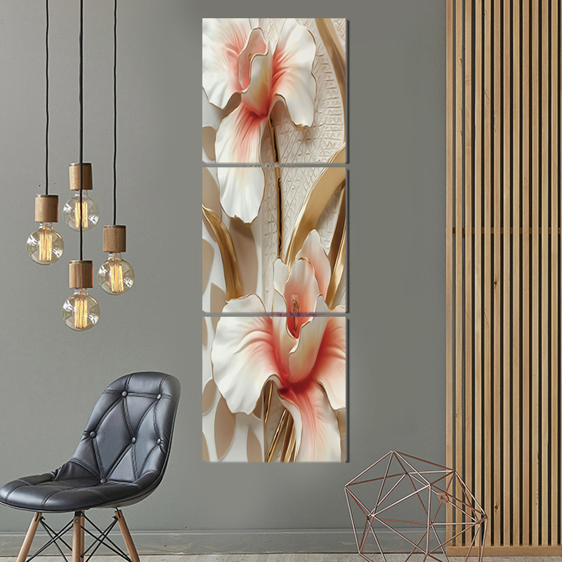 US $9 64  Pretty flower vertical square canvas painting modern art prints 3  psc home deco wall pictures for pathway aisle corridor rooms-in Painting &