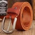 2017 diseñador caliente de la nueva llegada hombres de la correa de alta calidad total grano 100% cuero genuino real faja de lujo café marrón ceinture rojo