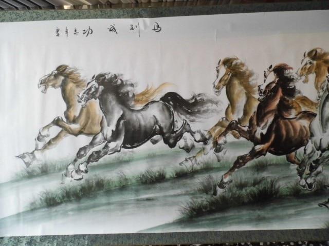 250 см огромный зал лобби бизнес домашний офис настенная декоративная живопись успех 8 лошадей фэн шуй китайская шелковая Живопись Искусство - 3