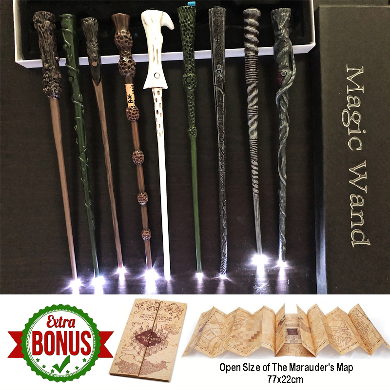 17 Kinds Potters Magic Wands Cosplay Sirius Hermione Dumbledore Harried Magic Light Wand High Quality With Marauder's Map Gift